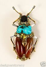 C & D gilt brass w/antique bug pin brooch w/Turquoise, Agate, Citrine, Onyx, GG