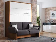 Schrankbett/Wandbett/Klappbett- Sofa WBS 1 Soft -160 x 200 cm Holz.Nussbaum Weiß