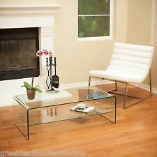 Living Room Furniture Modern Design Glass Finish Coffee Table w/ Shelf