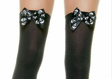 Black Opaque Skull Bow Halloween Stockings Stay-Ups Hold-Up Thigh Hi High