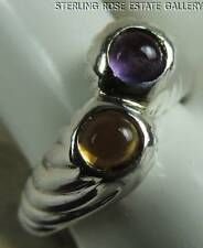 AMETHYST and CITRINE TWIST STERLING SILVER 0.925 ESTATE COCKTAIL BAND RING sz 7
