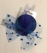 Small Blue Rose Mini Hat Fascinator Clip Weddings Races Hen Night Party's veil