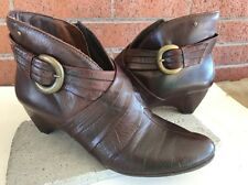 PIKOLINOS Women's Brown Leather Ankle Boots Booties Side Zipper Sz 40/9.5-10
