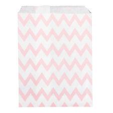 Sac À Bonbons En Papier x25 Rose Chevron Motif Mariage Blanc Artisanat