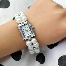 Rhinestones Crystals Faux Pearl Square Dial Wristwatch Cuff Bracelet Watch New