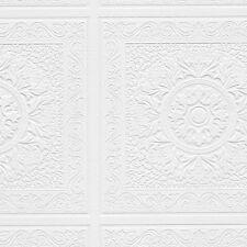 Renaissance Ceiling Tile Raised White Textured Paintable Square Wallpaper 48931