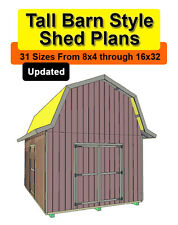 16x32 Tall Barn Style Shed Plans in 31 sizes from 8x4 to 16x32