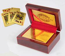 New 24K Karat Gold Plated Poker Game Playing Card +Nice Wood Box Gift Gambler
