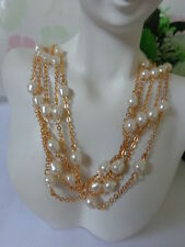 WOW! US AVON Multi Strand PEARL ESQUE ILLUSION Choker Necklace Jewelry Set '99