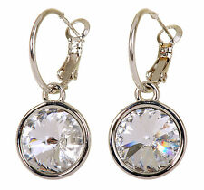 Swarovski Elements Crystal Harley Pierced Earrings Rhodium Plated 7166x