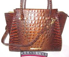 Brahmin Toasted Almond Croco Embossed Leather Priscilla Satchel Tote Bag NWT$385