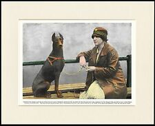 DOBERMAN PINSCHER LADY AND DOG LOVELY PRINT MOUNTED READY TO FRAME
