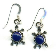 Dangle Turtle Earrings Genuine Lapis Lasuli Stone Sterling Silver Native America