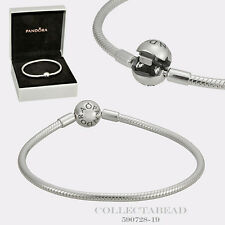 "Authentic Pandora Sterling Silver Smooth Bracelet Lock 7.5"" Hinged Box 590728-19"