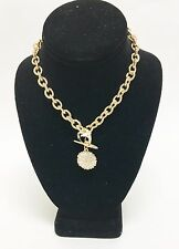 GUESS GOLD TONE,LINK CHAIN,HEART,KEY,CRYSTAL,CHARM,PENDANT TAG TOGGLE NECKLACE