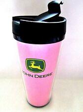 John Deere Travel Tumbler Cup Pink Flip Top 16 oz Hot Or Cold Licensed