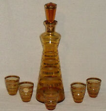 Bohemia Glass Decanter Set with 5 glasses Amber Gold Trim Vtg Mid Century
