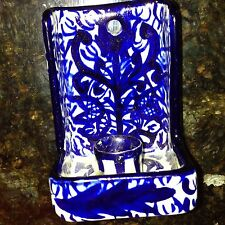 VINTAGE PORSGRUND DELFT ? NORWAY BLUE WHITE MATCH BOX CANDLESTICK WALL POTTERY