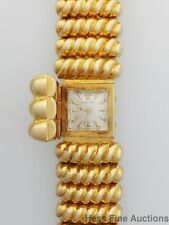 RARE Heavy 18k Gold Genuine Triple Signed Cartier 1950s Ladies Watch w Bracelet