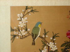 VINTAGE CHINESE JAPANESE SIGNED BIRD FLOWER BRANCH WATERCOLOR PAINTING ON SILK 2