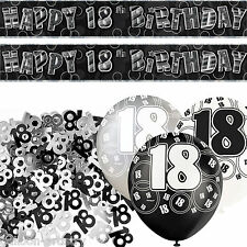 Black Silver Glitz 18th Birthday Banner Party Decoration Pack Kit Set