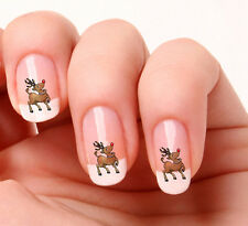 20 Nail Art Decals Transfers Stickers #03 -  Reindeer Rudolph red nose Christmas