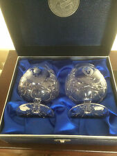 "BEAUTIFUL PAIR OF BOXED GLENCAIRN CRYSTAL BRANDY GLASSES 4.5"" TALL ON A 3"" FOOT"