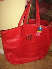 Tory Burch AUTH TT LOGO LINED SOFT RED LTHER LAPTOP LARGE TOTE SHOPPING BAG NEW