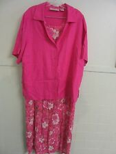 Anna Maxwell 2 Pc. Pink Floral 100% Rayon Dress & Linen Jacket Set - So Lovely!