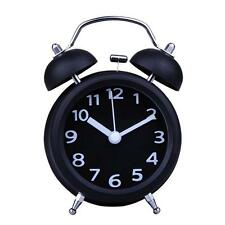 Double Bell Alarm Clock Traditional Quartz Bedside Loud Night Light Black