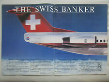 5/1986 PUB ROLLS-ROYCE TAY ENGINE FOKKER 100 TAIL SWISSAIR AIRLINE ORIGINAL AD