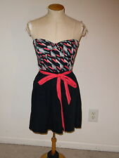 MAEVE FOR ANTHROPOLOGIE NAVY STRAPLESS PLEATED ABOVE KNEE DRESS W/TIE SIZE 4