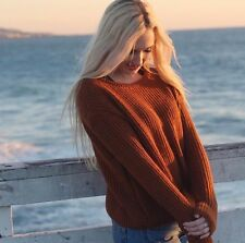 Last One! brandy melville soft knit burnt orange pull over Leia sweater  NWT OS