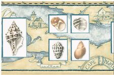 SEA SHELLS IN FRAMES WITH LIGHTHOUSES AND SAILBOATS Wallpaper bordeR Wall