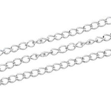 10M Stainless Steel Thin Chain Silver Tone 4mmx3mm