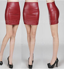 Sexy Women Girls Punk Soft Faux Leather PU High Waist Pencil Bodycon Mini Skirts