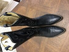 Men's Hand Made Custom Black Lizard Western Cowboy Boots  (9) Vintage