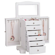 White Vintage Wood Jewellery Box Gift Cabinet  Necklace Chest Armoire Organiser