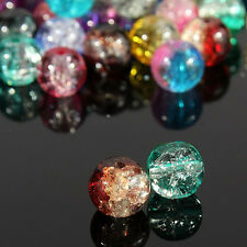Wholesale 100Pcs Delicate DIY Decoration Crystal 8mm Round Crack Glass Beads