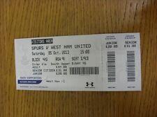 BIGLIETTO 05/10/2013: Tottenham hotpsur V West Ham United (piegato). grazie per vie