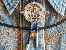 NEW HANDCRAFTED IN U.K. BOLO TIE ST CHRISTOPHER SILVER METAL LEATHER CORD