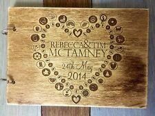 Inciso a laser Matrimonio Personalizzato Libro Degli Ospiti, compensato 3mm, finitura in legno rustico