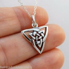 Celtic Knot Necklace - 925 Sterling Silver - Irish Double Triquetra Charm NEW