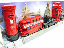 DIE CAST METAL LONDON BUS BLACK TAXI , PHONE & POST BOX SET OF 4 SOUVENIRS GIFT