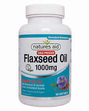 Flaxseed Oil 1000mg x 90 capsules (Omega 3, 6 + 9) Natures Aid