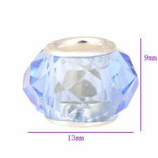5pcs White Filled Blue Transparent Acrylic Fit European Fashion Charm Bracelet