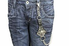 Silver Metal Long Wallet Chains Strong Black Leather Skull Skeleton Biker Jeans