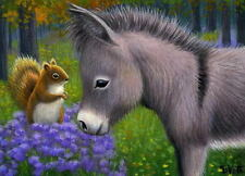 Burro donkey squirrel wildlife fall autumn limited edition aceo print art