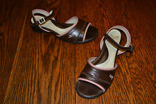 John Fluevog Fellowship Joanna Brown Coral Pink Sandals Heels Women's 9.5 US