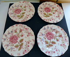 Johnson Bros Rose Chintz Pink Floral Scalloped 4 Dessert Plates England /M8